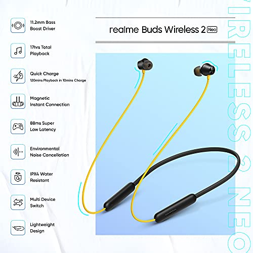 realme Buds Wireless 2 Neo (Black) Earphones with Type-C Fast Charge, Bass Boost+ & Magnetic Instant Connection