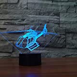 Lámpara de mesa táctil para helicóptero 7 colores Lámpara de escritorio cambiante Lámpara 3D Novedad Luces de noche Led Estrella de la muerte Luz led