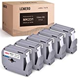 LEMERO Compatible with Brother P Touch M Tape M-K231 M231 MK231 M-K231s 12mm .47 White Label Tape - for Brother P Touch PT-65 PT-70 PT-80 PT-90 PT-45M 26.2 Feet Black on White (5 Pack)