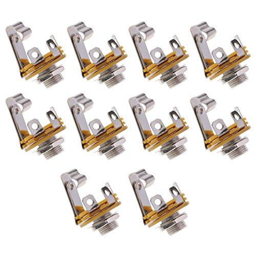 FITYLE 6.35mm 1/4''Mono Prise Audio Jack Connecteur Femelle Panneau De Montage à Souder 10pcs - Mono Prise