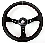 Tanaka 350mm Deep Dish 6 Bolt PU Carbon Fiber Steering Wheel (Universal)...
