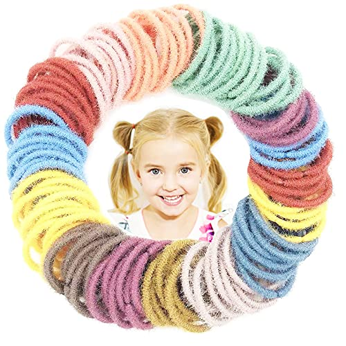200pcs Kids Hair Ties for Toddler Girls, Small Baby Hair Ties for Kids, Multicolor No-metal Hair Elastics Stretchy Ponytail Holders Hair Bands