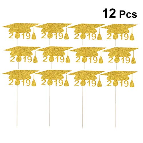 Amosfun 2019 Doktorhut Form Kuchen Topper Abschlussfeier Dekorationen Glitter Papier Kuchen Picks Cupcake Dekor Party Supplies für Graduation Geburtstag Baby Shower 12pcs (Golden)