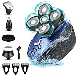 Maquinilla de Afeitar Hombre 5D, 5 In 1 Maquina Afeitar Calva, Afeitadora Electrica Hombre Impermeable con Húmedo y Seco, Máquina de Afeitar Hombre para Nariz, Orejas y Cara (5D, Azul)