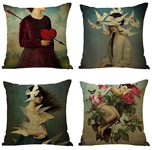 KaiXINSun Throw Pillow Cases Paquete de 4 Funda de Almohada de 18X18 Pulgadas Funda de Sofá Decorativa de Casa Cuadrada Cremallera Invisible 45X45Cm Patrón de Mujer Creativa
