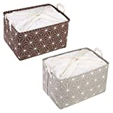 LessMo 2 Pack Storage Basket, XL Fabric Bins Box Organizer with Drawstring, Rectangular, Waterproof, Collapsible, for Kids' Toys, Clothing, Books, Office, Nursery and Home Laundry Storage