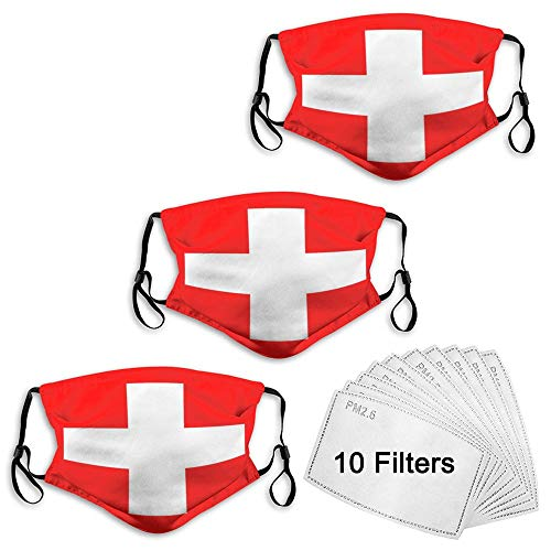 Unisex Unique Comfortable Breathable Red Cross Balaclava Face Scarf Mask with Adjustable Earloop, Windproof Dustproof Mouth Cover for Party, Travel, Outdoor