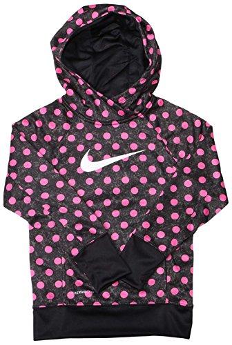 Nike KO Allover Print - Felpa con cappuccio da ragazza nero/rosa. XL