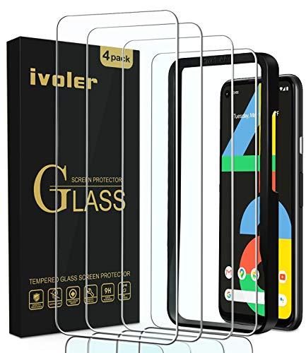 ivoler 4 Stücke Panzerglas Schutzfolie für Google Pixel 4A 4G, Panzerglasfolie Folie Displayschutzfolie Hartglas Gehärtetem Glas DisplayPanzerglas Displayschutz