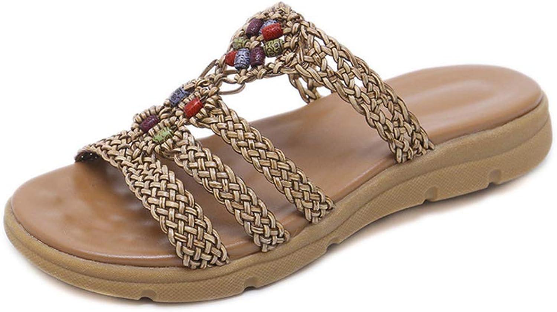 Mobnau Womens Knitted Beach Outdoor Sandles Ladies Slide Sandals