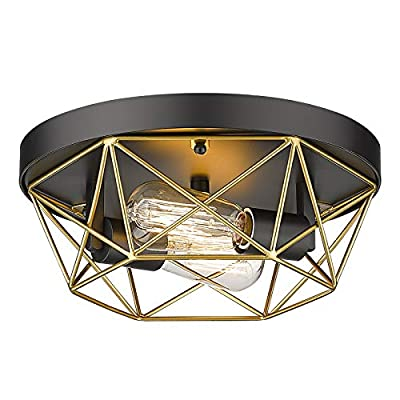 2-Light Industrial Ceiling Light, HWH Brass Metal Cage Flush Mount Lighting Fixture, Black and Gold for Bedroom, Hallway, Foyer, Living Room, 5HY28F BK+BG