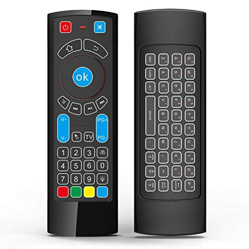 GOWELL Bluetooth Remote Specifically Compatible with Amazon Fire TV and Fire TV Stick Air Mouse Remote Control with Keyboard and IR Learning Works with Android TV Box Windows Raspberry pi 3(No Alexa)