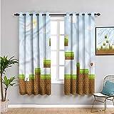 Pcglvie Cortina de aislamiento térmico para habitación de niños, cortinas de 45 pulgadas de largo píxel paisaje arcade reducir la luz de 163 x 115 cm