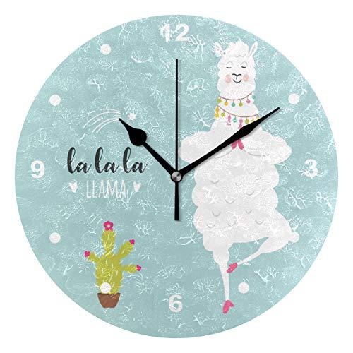 SUNOP Uhr für Kinder, Öldruck, 1 Lama-Alpaka-Vektor-Illustration, Wanduhren für Wohnzimmer, Schlafzimmer und Küche, Vintage-Stil