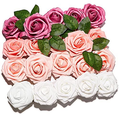 PartyWoo Künstliche Rosen, 20 Stück Kunstblumen, Künstliche Blumen, Deko Blumen, Schaumrosen, Kunstblumen Deko, Kunstblume für Geburtstagsdeko, Hochzeitsdeko, Party Deko (Rosa und Weiß)