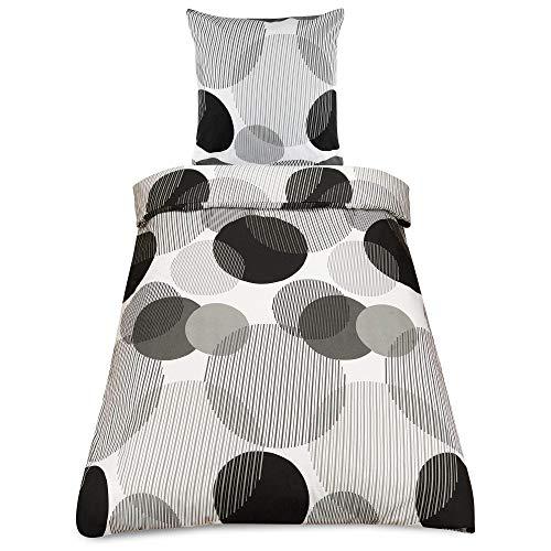Beautissu 2tlg Biber Bettwäsche Warm Runa Bettbezug 135x200 cm Kopfkissenbezug Bettdeckenbezug Muster Winterbettwäsche in Grau