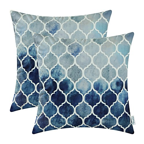 CaliTime Pack of 2 Cozy Throw Pillow Cases Covers for Couch Bed Sofa Farmhouse Manual Hand Painted Colorful Geometric Trellis Chain Print 20 X 20 Inches Main Grey Navy Blue