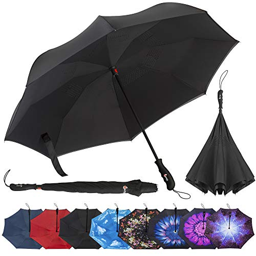 Repel Reverse Folding Inverted Umbrella with 2 Layered Teflon Canopy with Reinforced Fiberglass Ribs (Black)