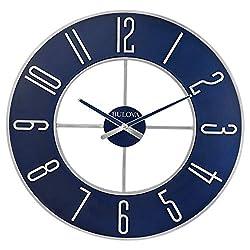 Bulova Steel Oversize Wall Clock, 27, Silver and Blue