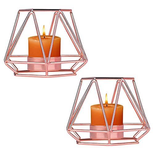 2 candelabros de metal portavelas portavelas geométrico Centro de Mesa Candelabro Pilar candelabro decorativo candelabro de hierro forjado para decoración de bodas regalo del día de la madre O