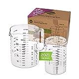 TreeBox Taza medidora de vidrio con pico - 2 piezas - Resistente al calor y apto para microondas – Diferentes unidades de medida - Perfecto para hornear, cocinar y mezclar