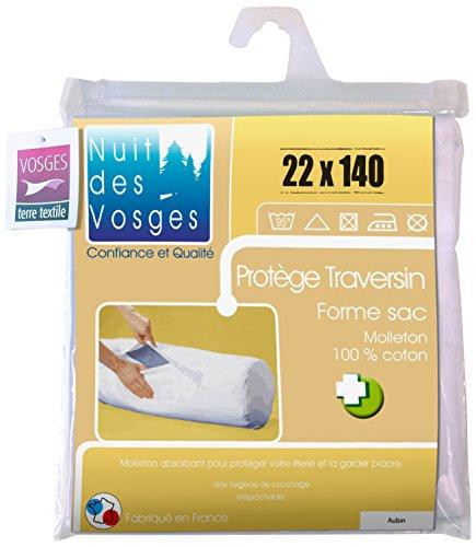 Nuit des Vosges 2071733 Aubin Sous-Taie Fermée de Traversin Absorbante Molleton/Coton Blanc 22 x 140 cm