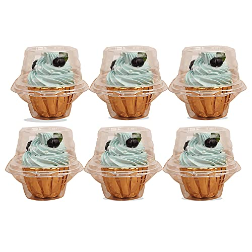 Single Cupcake Boxes -Individual Cupcake Container - Single Compartment Cupcake Carrier Holder Box - Stackable - Deep Dome - Clear Plastic - BPA-Free- (25)