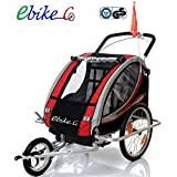 ebikeCo Remolque Bicicleta Aluminio, 7 Confort suspensión, Rueda 360º Rojo