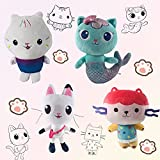 4Pcs Gabbys Dollhouse Plush Set,Cute Cartoon Cakey Cat Mercat Baby Box Pandy Cat Plush Soft Stuffed for Boys Girls Gift