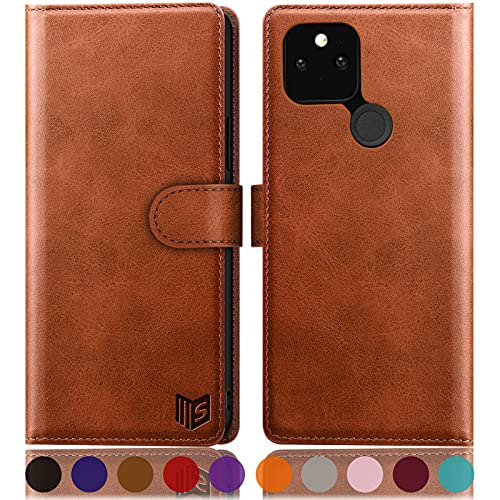 SUANPOT for Google Pixel 5 Case with RFID Blocking Leather Wallet case Credit Card Holder, Flip Folio Book Phone case Shockproof Cover for Women Men for Motorola Google Pixel 5 case Wallet Light-Brown