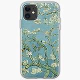 Almond Blossom Vincent Van Floral Blue Art Flower Fine Gogh Phone Case Compatible with iPhone 12/12 Pro Max Mini 11 Pro max XR Xs 7/8 SE 2020 7 8plus 6 6s Plus