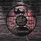 syssyj Heure du dîner en Famille dans Le Restaurant Disque Vinyle Horloge Murale Nourriture délicieuse LED Veilleuse Serveuse Service à Boire