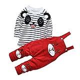 De feuilles Chic-Chic Ensemble Salopette avec Haut Longues Manches Bébé Garçon Fille Panda Rayure Haut T-Shirt Mignon 12-18mois Rouge