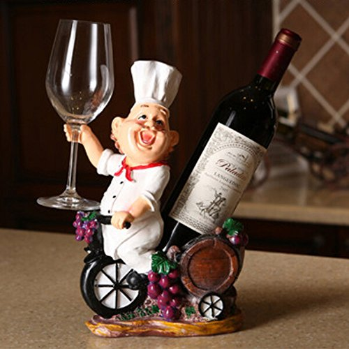 OLizee Fat Chef Resin Decorative Wine Bottle Holder Rack 243112CM