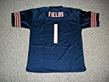 Unsigned Justin Fields #1 Chicago Custom Stitched Blue Football Jersey Various Sizes New No Brands/Logos (3XL)