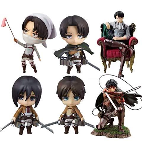 Klycbds Figura De Acción De 6Pcs Attack On Titan Anime Eren Yeager, Figura De Levi Ackerman Shingeki No Kyojin Levi Figurine Toys