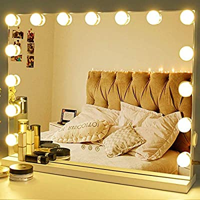 Zdorzi Vanity Mirror Makeup Mirror with Lights,Large Hollywood Lighted Vanity Mirror with 15 Dimmable LED Bulbs ,3 Color Modes,Touch Control for Dressing Room & Bedroom,Tabletop or Wall-Mounted