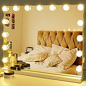 Zdorzi Vanity Mirror Makeup Mirror with Lights,Large Hollywood Lighted Vanity Mirror with 15 Dimmable LED Bulbs ,3 Color…