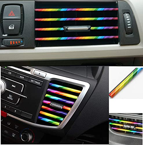 10 Pcs Chrome PVC Car Air Conditioner Vent Outlet Trim Decoration Strip for Chevrolet, Chrysler, BMW, Jeep, Mercedes-Ford,Buick, Volvo, Benz, Dodge, Cadillac, Car Shiny Accessories for Lady & Gentry