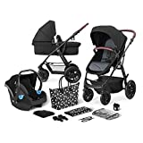 Kinderkraft Pram 3 in 1 Set XMOOV, Travel System, Baby Pushchair, Buggy, Foldable, with Infant Car Seat, Carrycot, Accessories, Rain Cover, Footmuff, for Newborn, from Birth to 3 Years, 0-13 Kg, Black
