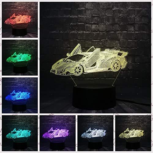Cooler Mann Rennwagen Auto Weihnachtsnacht Licht 3D LED USB Tischlampe Kinder Geburtstagsgeschenk Nachtzimmer Dekoration