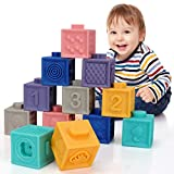 Bloques de bebé, Bloques Apilables, Cubos Sensoriales Bebe, Bloques de Construcción Suaves Juguetes, Juguete Educativo, Apto para Bebés Mayores de 6 Meses