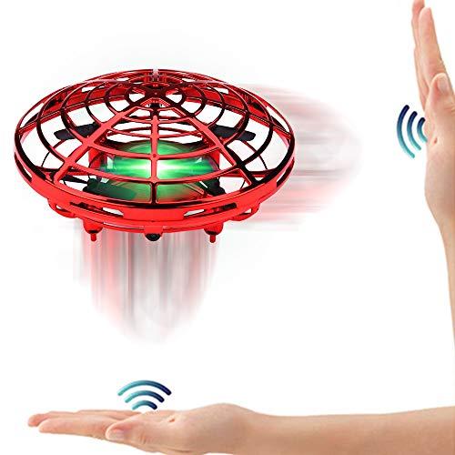 SPECOOL Fliegendes Spielzeug FUNCUBE UFO Ball Fliegende Untertasse Mini Drohne Handsteuerung Helikopter Infrarot Induktions Flugzeug LED Quadrocopter (Rot)