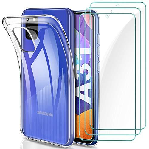 YNMEacc Cover per Samsung A31 Custodia + 3 Pezzi Pellicola Protettiva in Vetro Temperato, Ultra Sottile in Silicone Morbido Trasparente Gel Cover per Samsung Galaxy A31
