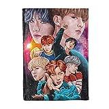 Kpop BTS Fleece Blanket Ultra Soft Warm Lightweight Flannel Throw Blankets Bed Sofa for Girls Adult 60x80 Inch Gift