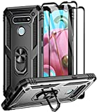 Aliruke Case for LG K51 Case/LG Reflect Case/LG Q51 Case with 2 Tempered Glass Screen Protector, Military Grade Drop Tested Cover Grip Ring Kickstand Protective Phone Cases for LG K51/LGK51, Black