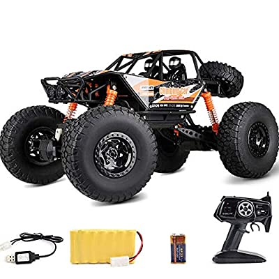 Kikioo 1:10 Giant High Speed Electric Rechargeable 2.4GHz Toys RTR For Kids Monster Crawlers Chariot Rc Truck 4WD Remote Control Stunts Car Off-Road Racing Vehicles LED Light Boy Birthday Toy Gift Blu