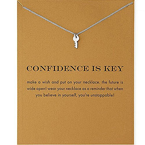 ODN Women Girls Sterling Silver Choker Necklace Pendant Collar Chain Jewelry Accessories Gift Key