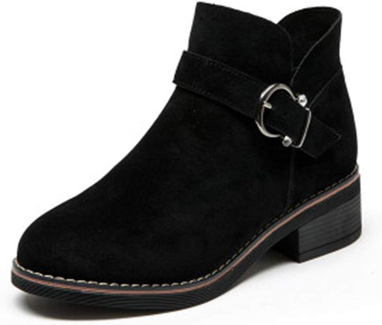 MINIKATA Women Martin Boots Fashion Ankle Booties Buckle Side Zipper Combat Boots