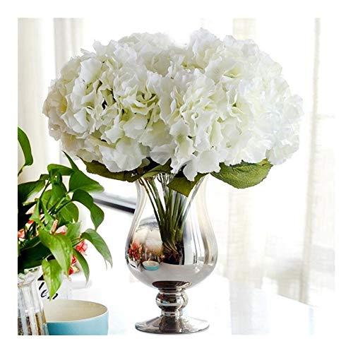 BGDRR Flor Artificial for decoración 5 Cabezas Hortensia de Seda for Boda decoración de Fiesta en casa Flores Falsas Ramo Grande (Color : White)